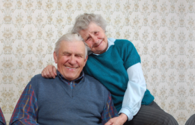 an elderly couple living happily